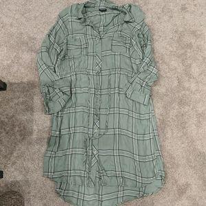 Torrid green plaid drawstring dress